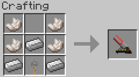 Two guiding rails hold a redstone charge between them when fired.