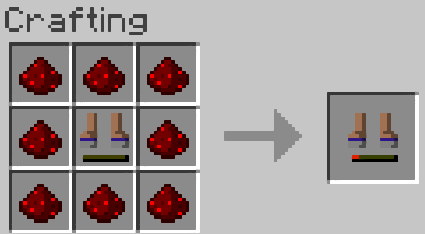 The boots are redstone powered. They can be reloaded with up to 8 pieces of redstone dust at a time.